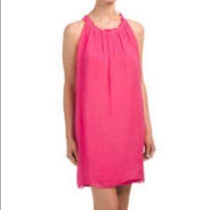 Luisa Ricci Italian Pink Silk Halter Dress